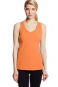 Womens V Neck Sleeveless Solid Color Tank Top Orange