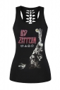 Womens Hollow Out Racer Back Final Destination Printed Tank Top Black