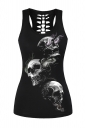 Womens Hollow Out Racer Back Smoking Skull Printed Tank Top Black