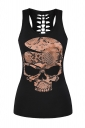 Womens Hollow Out Racer Back Skull Printed Tank Top Black