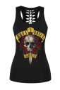 Womens Hollow Out Racer Back Guns Roses Printed Tank Top Black