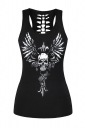 Womens Hollow Out Racer Back Wing Skull Printed Tank Top Black