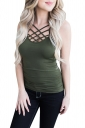 Womens Hollow Out Cross Strappy Plain Camisole Top Army Green
