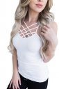 Womens Hollow Out Cross Strappy Plain Camisole Top White