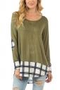 Womens Houndstooth Splicing Long Sleeve High Low T Shirt Green