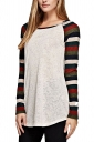 Womens Long Sleeve Color Block Striped Crewneck T Shirt Brown