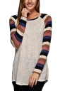 Womens Long Sleeve Color Block Striped Crewneck T Shirt Pink