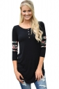 Womens Floral Printed Patchwork 3/4 Length Sleeve T Shirt Black