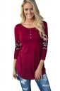 Womens Floral Printed Patchwork 3/4 Length Sleeve T Shirt Red