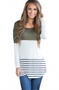 Womens Color Block Lace Trim Striped Long Sleeve T Shirt Army Green