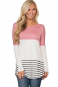 Womens Color Block Lace Trim Striped Long Sleeve T Shirt Pink