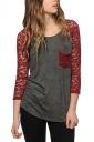 Womens Crewneck Lace Splicing 3/4 Length Sleeve T Shirt Ruby
