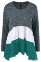 Womens Color Block Long Sleeve Chiffon Hem Patchwork T Shirt Green