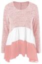 Womens Color Block Long Sleeve Chiffon Hem Patchwork T Shirt Pink