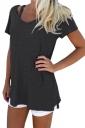 Womens Retro V Neck Plain Short Sleeve Loose T Shirt Black