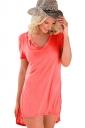 Womens V Neck Sides Slit Short Sleeve Plain T Shirt Pink