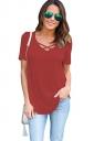 Womens Crisscross V-neck Plain Short Sleeve T Shirt Red