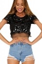 Womens Crewneck Sequined Mesh Patchwork Short Sleeve Crop Top Black