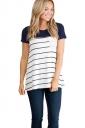 Womens Crewneck Striped Pocket Decor Short Sleeve T Shirt Navy Blue