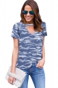 Womens V Neck Camouflage Printed Short Sleeve T Shirt Gray