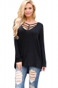 Womens Cut Out V Neck Long Sleeve Loose Plain T Shirt Black