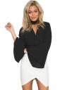 Womens Choker Cross V Neck Flare Long Sleeve Plain Blouse Black
