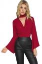 Womens Choker Cross V Neck Flare Long Sleeve Plain Blouse Ruby