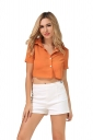Womens Turndown Collar Lace-up Bow Short Sleeve Crop Top Orange