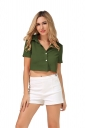 Womens Turndown Collar Lace-up Bow Short Sleeve Crop Top Green