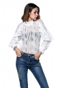 Womens Ruffled Sheer Striped Patterned Long Sleeve Plain Blouse White
