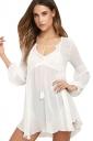 Womens V Neck Sheer Long Sleeve Loose Plain Blouse White