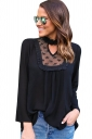 Womens Stand Collar Cutout Lace Patchwork Long Sleeve Blouse Black