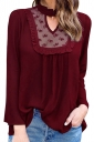 Womens Stand Collar Cutout Lace Patchwork Long Sleeve Blouse Ruby