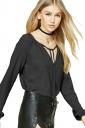 Womens Lace-up V Neck Plain Long Sleeve Blouse Black