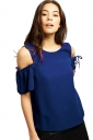 Womens Cold Shoulder Drawstring Short Sleeve Blouse Sapphire Blue