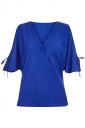 Womens V Neck Cold Shoulder Flare Short Sleeve Blouse Sapphire Blue