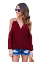 Womesn V-neck Strings Cold Shoulder Long Sleeve Blouse Ruby