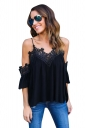 Womens Sexy Straps Cold Shoulder Patchwork Blouse Black