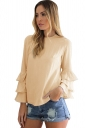 Womens Crew Neck Plain Ruffled Long Sleeve Blouse Khaki