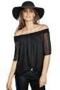Womens Sexy Boat Neckline Short Sleeve Chiffon Blouse Black