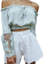Womens Sexy Boat Neckline Patchwork Long Sleeve Blouse Light Gray