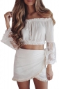 Womens Sexy Boat Neckline Patchwork Long Sleeve Blouse White