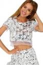 Womens Sequins Organza Patchwork Crew Neck Crop Top Silvery