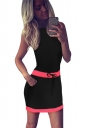 Womens Color Block Sleeveless Tank Dress Black
