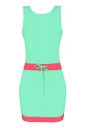 Womens Color Block Sleeveless Tank Dress Turquoise