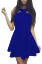 Womens Off Shoulder Plain Sleeveless Skater Dress Blue