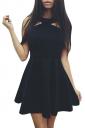 Womens Off Shoulder Plain Sleeveless Skater Dress Black