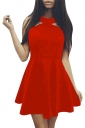 Womens Off Shoulder Plain Sleeveless Skater Dress Red