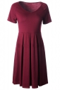 Womens V Neck Short Sleeve Plain Midi Skater Dress Ruby