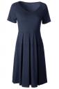Womens V Neck Short Sleeve Plain Midi Skater Dress Navy Blue